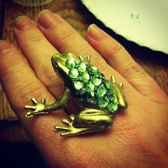 frog love. My daughter bought me a frog ring for my b-day and i love him. He was gold tone with cz stones.