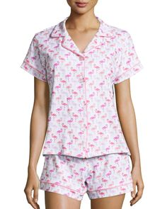 Bedhead knit shorty pajama set in flamingo print. Notched collar; button front. Short sleeves. Includes matching shorts. Elasticized waist. Relaxed fit. Pull-on style. Cotton/spandex; machine wash. Ma
