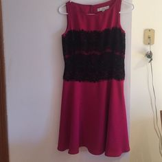 Pink and black dress Pink dress w lace LOFT Dresses Mini