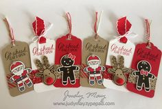Stampin' Up! - Christmas Tags with Candy Cane Lane Suite - Judy May, Just Judy Designs Christmas Paper Crafts, Stampin Up Christmas, Christmas Gift Wrapping, Christmas Tag, Christmas Projects, Christmas Decorations, Xmas Cards, Holiday Cards, Stampin Up Weihnachten