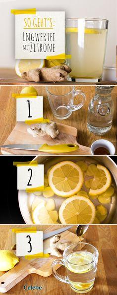 Schritt-für Schritt-Anleitung für einen Tee aus frischem Ingwer mit Zitrone. Ingwer und Zitrone in Scheiben schneiden, mit heißem Wasser übergießen und etwa 10 Minuten ziehen lassen! #tee #ingwer #immunsystem