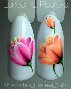 Flowers with gel accent Uñas One Stroke, One Stroke Nails, Diy Nails, Cute Nails, Pretty Nails, Tulip Nails, Flower Nails, Nail Polish Designs, Nail Art Designs