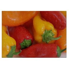 Colorful Wet Bell Peppers #zazzle #peppers #cuttingboards @Robert Gebbie