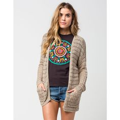 Full Tilt Essential Womens Boho Cardigan (40 AUD) ❤ liked on Polyvore featuring tops, cardigans, oatmeal, boho style tops, full tilt, long sleeve open front cardigan, cardigan top and full tilt tops