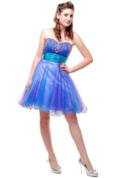 Magical Turquoise and Purple Sweetheart Tulle and Rhinestone Strapless Prom Dress