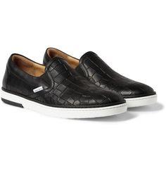 Jimmy Choo Grove Crocodile-Embossed Leather Slip-On Sneakers