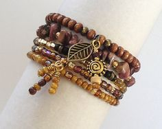 "Stretch Bead Bracelets Set of 5 ""Cheyenne"""