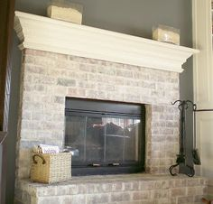 Great tutorial on white washing a brick fireplace.  Great option if you want to change or update existing brick without painting it the traditional white, gray, or black