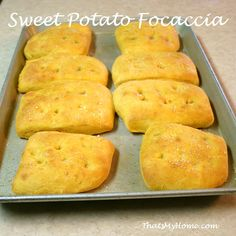 Savory Sweet Potato Focaccia with a hint of rosemary and olive oil. This easy to make yeast bread using sweet potatoes is delicious with our beef with onions and peppers.
