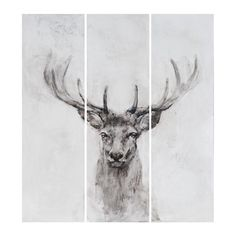 This hand painted stag artwork is split into 3 sections. At one and a half meters square this creates a dramatic feature piece for any wall.