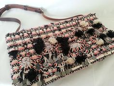 J.Crew Purse Pink Black & white Tweed embellished Shoulder Bag Handbag $79.99