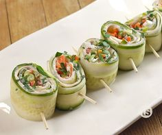 Cucumber Roll Ups - use cheese spread - think Greek salad