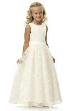 Dessy Ivory Lace Flower Girl Dress.