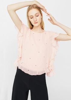 Blusa estampada volante - Camisas de Mujer | MANGO España
