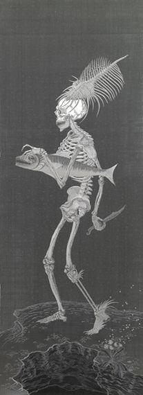 Angelo Filomeno  (1963 Italie)  Philosopher's Woman  - Een geraamte geborduurd op zijde - Kristalletjes laten het kunstwerk schitteren als een sterrenhemel - de invloeden van Dürer, Japanse prenten en primitieve kunst zijn niet bepaald gewoontjes en de verbeelding aan de basis van dit werk lijkt al helemaal niet van deze wereld en oogt haast te geraffineerd om door mensenhanden te zijn gemaakt.