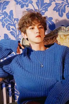 Baekhyun is my aesthetic #blueB #curlyhair #helookssosoft
