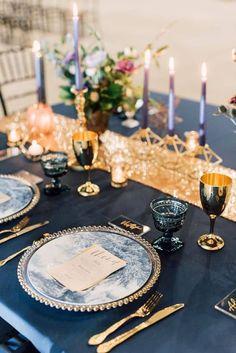 wedding themes Celestial industrial navy blue and gold wedding inspiration Navy Blue And Gold Wedding, Gold Wedding Colors, Gold Wedding Theme, Gold Wedding Decorations, Space Wedding, Navy Gold, Witch Wedding, Beige Wedding, Wedding Themes