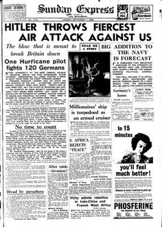 Battle of Britain newspaper headline 1 September 1940