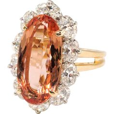 This is the kind of imperial topaz ring one DREAMS of! I almost kept it for myself being partial to Oscar Heyman jewelry and also imperial topaz this Metal Jewelry, Antique Jewelry, Vintage Jewelry, Jewelry Box, Oval Diamond, Diamond Rings, Diamond Jewelry, Wedding Ring Styles, Beautiful Wedding Rings