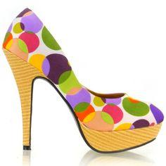Show Story Ladies Multi Color Polka Dots Wooden Platform Stiletto Shoes Platform Stilettos, Stiletto Shoes, Platform Shoes, Pumps, Polka Dot Heels, Polka Dots, Shoe Boutique, Colorful Shoes, Hot Heels