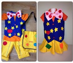 Girl and boy versions of a clown outfit I made!