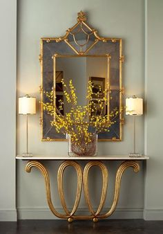 Gorgeous golden laced console table design in gold - modern art furniture