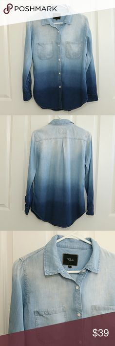 Rails Ombre Long Sleeve Shirt Size Small Rails ombre long sleeve shirt.  100% tencel.  Very soft with a little give.  Size small.  About 18 inches armpit to armpit.  About 28 inches shoulder to hem.  Big and loose for a small.  This is a previously owned item.  Very faint mark on right front and near right armpit.  Also two small faint spots on the bottom right side.  Both shown in pictures.  Shirt is gently used.  No major wear, no holes or rips. Rails  Tops Button Down Shirts