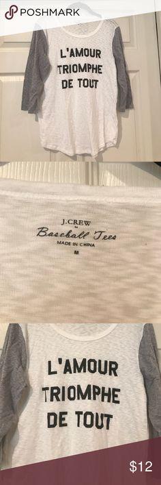 Jcrew baseball tee Soft and comfortable Jcrew baseball tee. Worn one time. Size medium J. Crew Factory Tops Tees - Long Sleeve