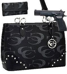 Pewter Studded Signature Conceal and Carry Purse W Matching Wallet Cleto...i like and want this