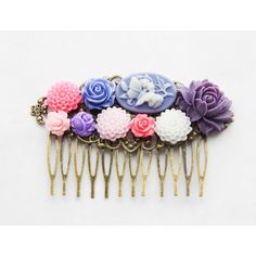 Butterfly Roses Hair Clip Purple Rose Hair Piece Purple Pink and Blue... ($22) ❤ liked on Polyvore featuring accessories, hair accessories, silver, rose hair clip, butterfly comb, blue flower hair accessories, blue hair accessories and butterfly hair clips