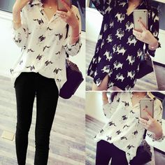 fashion women shirt chiffon baggy blouse button down bulldogs printed summer #Unbranded #Blouse #Career