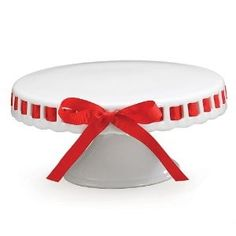 White Porcelain Pedestal Cake Stand/Plate With Red...