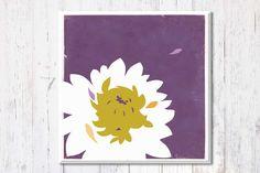 Purple White Flower, Canvas Art Print, Graphic Design Print, Retro Art, Living Room Decor, Flower Art, Canvas Art, Dorm Decor, 12'' x 12''