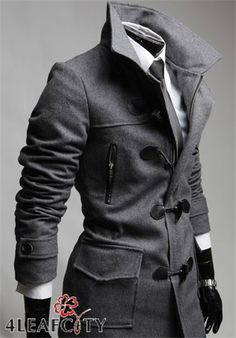 Men's Grey Notched Single Breasted Horn Button Peacoat with Hood sale at reasonable prices, wholesale discount cheap Men's Grey Notched Single Breasted Horn Button Peacoat with Hood at SKMEN. Sharp Dressed Man, Well Dressed Men, Mode Masculine, Black Waterfall Coat, Winter Outfits 2019, Plaid Jacket, Jacket Men, Winter Skirt Outfit, Red And Black Plaid