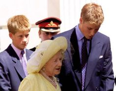 William escorts his great-grandmother, Britain's Queen Mother, outside Clarence House, London, as she celebrated her 99th birthday in August 1999.