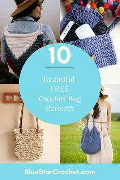 choose from this great list of crochet bag patterns. whether you like wearing crochet bags on your shoulder or as a back pack this round up has it all. Free Crochet Bag, Crochet Pouch, Crochet Market Bag, Crochet Bags, Easy Crochet, Pouch Pattern, Free Pattern, Bag Patterns, Crochet Patterns