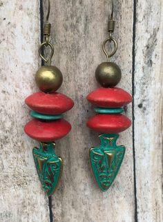 Handmade Jewelry Green and Red Boho/Tribal Earrings