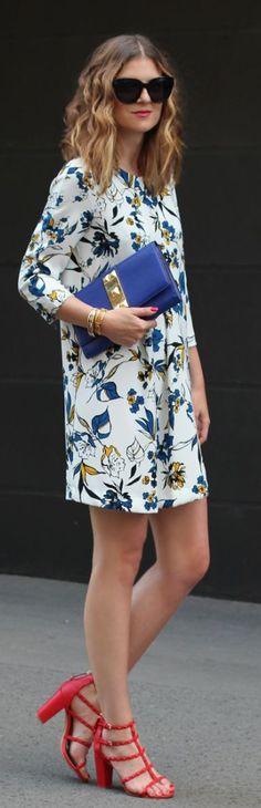 Pretty Print Dress, French Blue Clutch & Red Sandal heels.