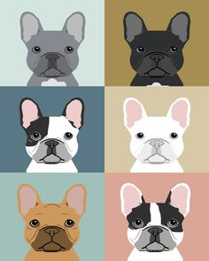 French Bulldog portraits pattern dog person gift love animal pet puppy frenchie bulldog valentines Art Print by PetFriendly | Society6
