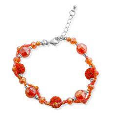 Orange Glass, Orange Austrian Crystal Bracelet in Stainless Steel (7.5 in)