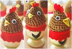 gehäkelte Eierwärmer! :) Hennenparade :D
