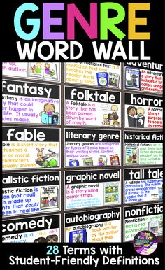 Support your readers with a beautiful, visual genre word wall! 28 genre vocabulary terms are included with 3 different colored printing options! These vocabulary cards can be used as a word wall, genre posters, or for flashcards! Reading Genre Posters, Reading Genres, Reading Strategies, Reading Comprehension, Teaching Second Grade, 2nd Grade Ela, Third Grade Reading, Fourth Grade, Elementary Library