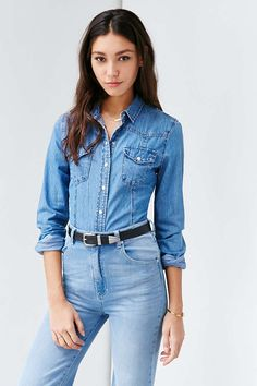 Glamorous Western Denim Button-Down Shirt - Urban Outfitters