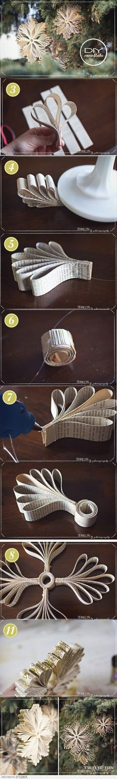 photo tutorial for recycled paper ornaments ... luv them!