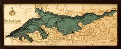 """Bathymetric Map of Big Bear Lake. Extremely accurate bathymetric map of Big Bear Lake, California and surrounding area. This three dimensional map is carved from Baltic birch wood, framed and has a acrylic covering to protect the wood.  Dimensions: 13.5""""H x 31""""W Price: $248.00 -- on ScrimshawGallery.com #map #bathymetric"""