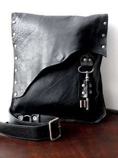 Black Leather Messenger Bag with Antique French Skeleton Key
