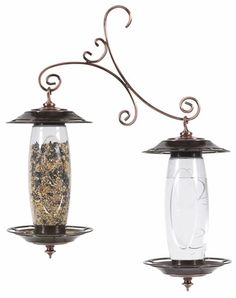 Birdscapes Garden Sip & Seed Bird Feeder is constructed of durable plastic and antiqued copper finish. The unique double silo patent pending design is sure to compliment any backyard décor. It is exclusive to Birdscapes; none of our competitors have anything like this product!