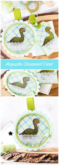 Nessie - a keepsake shaker card/ornament and matching gift tag. Find out more by clicking on the following link: http://limedoodledesign.com/2016/03/nessie/