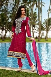 Pink Color Suit With Zari Embroidery Work