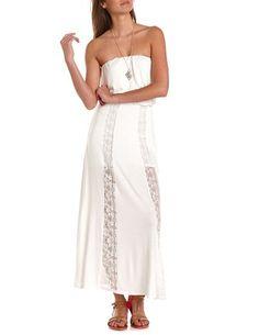 Crochet Inset Maxi Tube Dress: Charlotte Russe